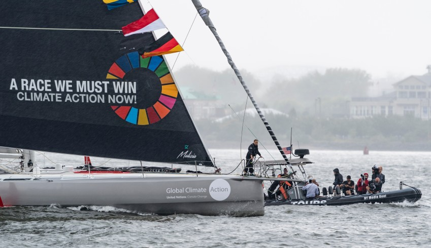 16-year-old climate activist Greta Thunberg arrives into New York City after crossing the Atlantic in zero carbon sailboat Malizia at North Cove Marina