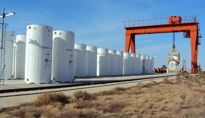 Massive containers hold spent nuclear fuel