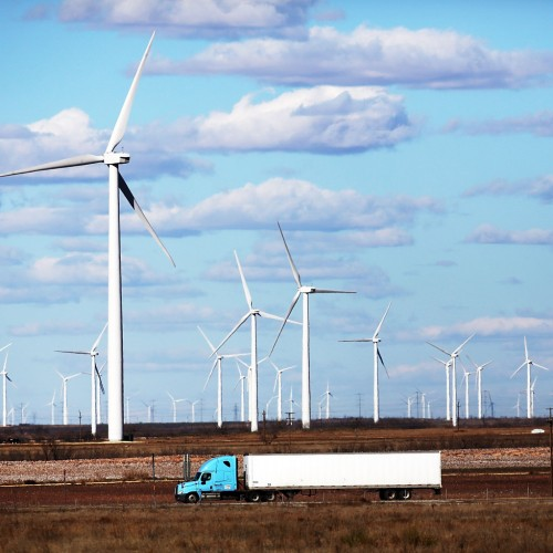 Wind turbines at a wind farm in Colorado City, Texas